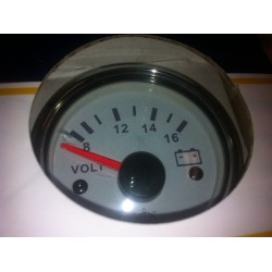Voltmetr 8-16V, leštěná ocel/bílá