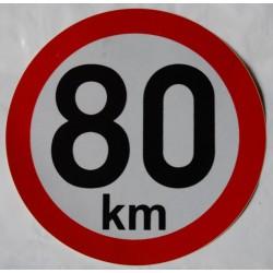 Omezení rychlosi 80km, retroreflexní, průměr 150mm (na přívěsy)